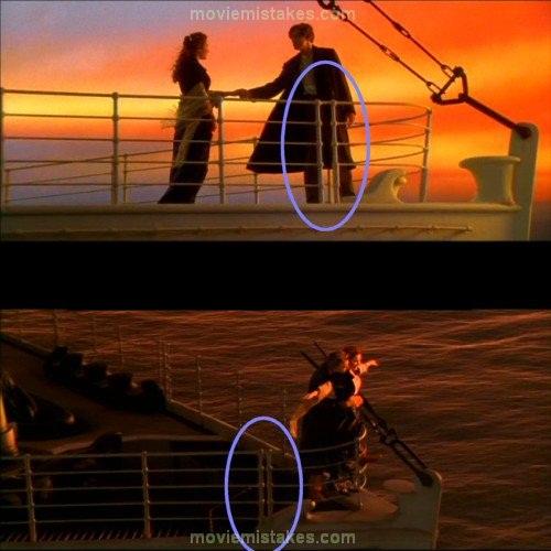 Khoảng cách giữa những thanh chắn tàu 'biến hóa' để tỷ lệ thuận với Jack và Rose.