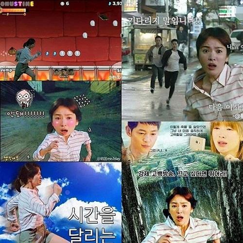 Cảnh chạy của Song Hye Kyo được biến tấu với nhiều phiên bản hài hước.