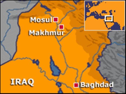 Vị trí Makhmur, Iraq. Đồ họa: BBC.