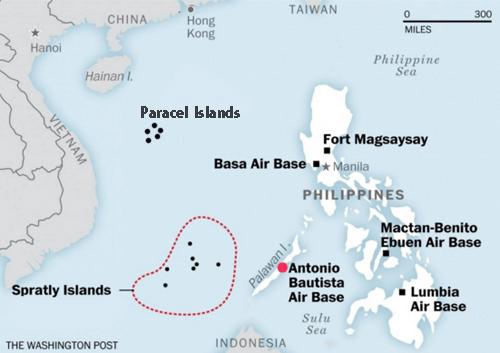 Vị trí căn cứcăn cứ không quân Antonio Bautista và quần đảo Trường Sa của Việt Nam. Đồ họa: Washington Post