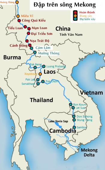 Các con đập đã hoàn thành, đang xây và dự kiến xây trên sông Mekong. Đồ họa: Michael Buckley