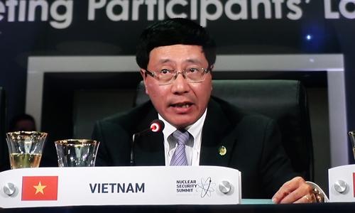 Phó Thủ tướng, Bộ trưởng Ngoại giao Phạm Bình Minh tại Hội nghị thượng đỉnh An ninh Hạt nhân. Ảnh: