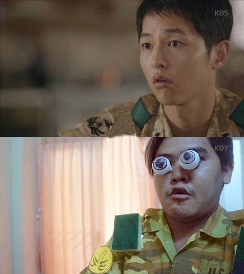 Đại úy Yoo với biểu cảm kinh ngạc đáng yêu.