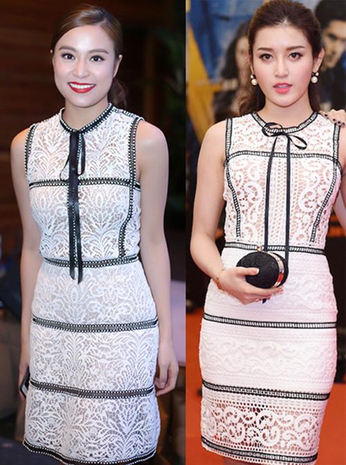 Hoàng Thùy Linh trong trang phục Chung Thanh Phong (trái) và Huyền My diện trang phục tương tự của thương hiệu khác.