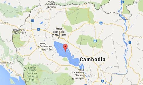 Hồ bảo tồn Tonle Chhmar ở phía tây bắc Campuchia, thuộc khu vực Biển Hồ được UNESCO công nhận là khu bảo tồn sinh thái. Ảnh: Google map
