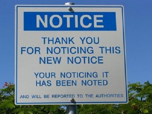 Chú ý: Cảm ơn bạn đã chú ý đến chú ý này. Sự chú ý của bạn đã được ghi nhận và sẽ được báo cáo lại với chính quyền.