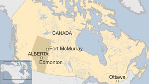 Vị trí thành phố Fort McMurray, Canada. Đồ họa: BBC.