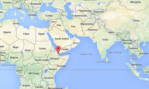 Vị trí Djibouti, nơi Trung Quốc sẽ đặt cơ sở hậu cần được coi là căn cứ hải quân đầu tiên ở nước ngoài. Đồ họa: Google maps