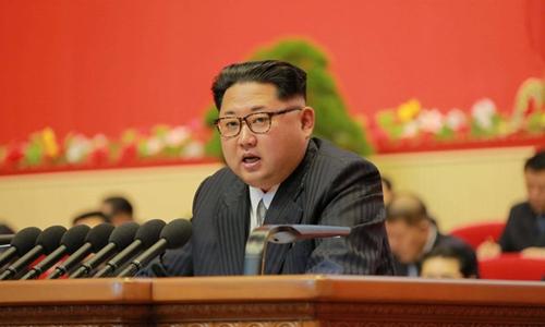Ông Kim Jong-un phát biểu trong phiên họp hôm 8/5 của đại hội đảng Lao động Triều Tiên. Ảnh: Reuters