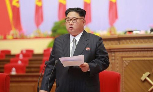 Nhà lãnh đạo Kim Jong-un phát biểu trong Đại hội đảng Lao động Triều Tiên lần thứ 7. Ảnh: Reuters