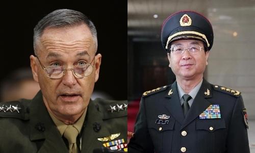 Tướng Joseph Dunford, Chủ tịch Hội đồng Tham mưu trưởng liên quân Mỹ (trái), và
