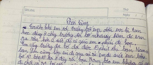 'Trước khi em tới trường, bố em dặn em là tan học đứng ở cổng trường đợi bố. Nhưng hôm đó em ra sớm hơn hai tiết do cô giáo em phải đi họp...'