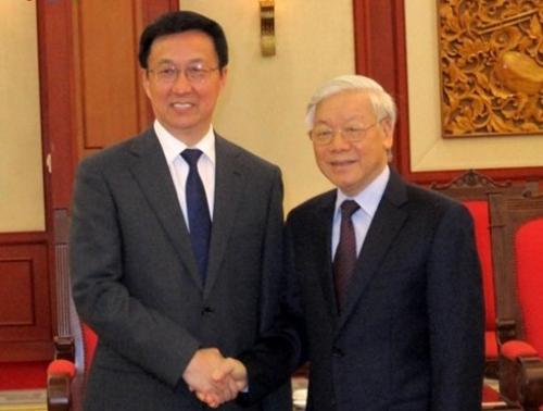 Tổng Bí thư Nguyễn Phú Trọng tiếp đồng chí Hàn Chính, Ủy viên Bộ Chính trị, Bí thư Thành ủy Thượng Hải, đang thăm và làm việc tại Việt Nam. Ảnh: VOV