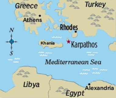 Vị trí đảo Karpathos, Hy Lạp. Đồ họa:Sigma Live.
