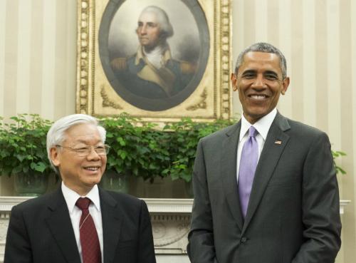 Tổng bí thư Nguyễn Phú Trọng và Tổng thống Obama tại Nhà Trắng hôm 7/7. Ảnh: AFP