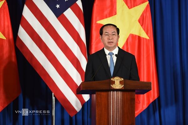 Chủ tịch nước Trần Đại Quang phát biểu tại cuộc họp báo. Ảnh: Giang Huy.