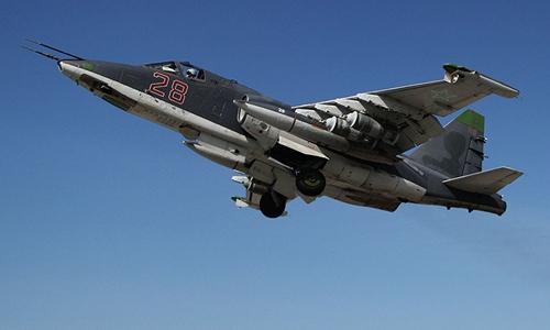 Chiến đấu cơ Su-25 Nga cất cánh từ căn cứ không quân Khmeimim, Syria trong chiến dịch tiêu diệt IS. Ảnh: RT