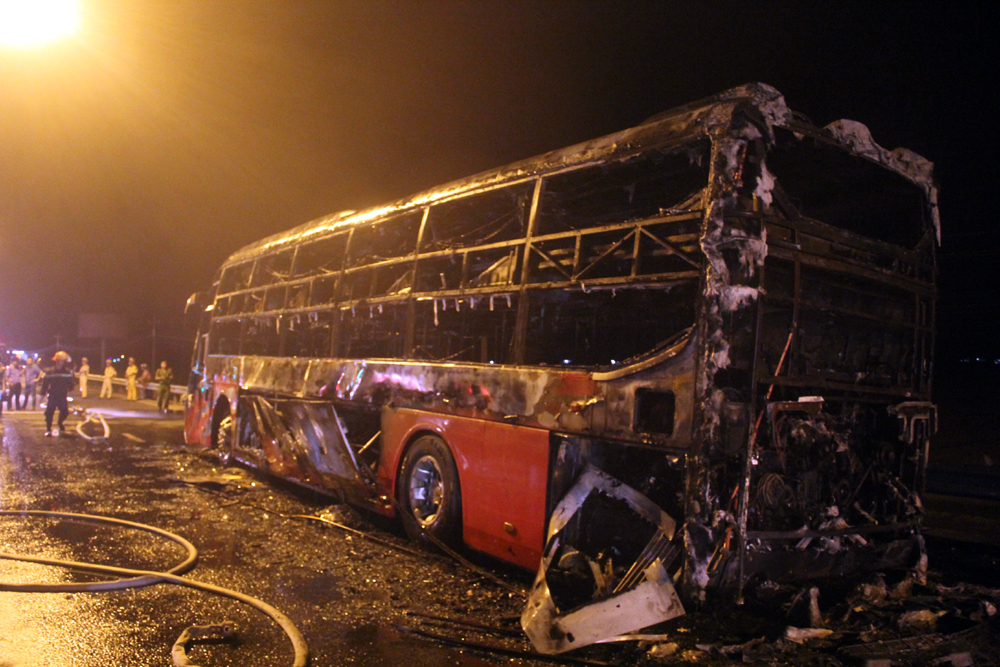 Sleeper coach goes up in flames on National Highway 1A