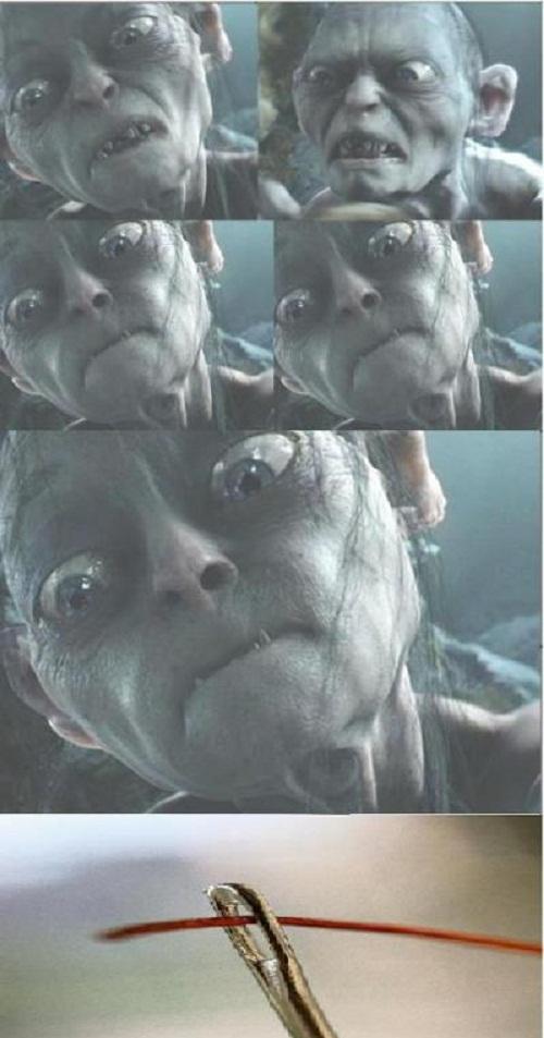 Vẻ mặt của bạn khi xỏ kim.