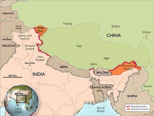 Vị trí khu vực Aksai Chin vàbangArunachal Pradesh, hai khu vực tranh chấp giữa Trung Quốc và Ấn Độ.