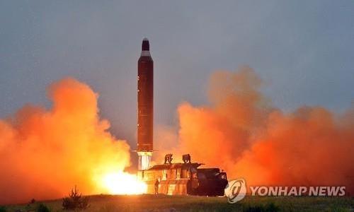 Hình ảnh về vụ phóng tên lửa đạn đạo tầm trung trên truyền thông Triều Tiên. Ảnh: Yonhap.