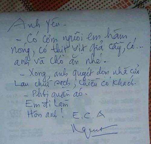 Bức tâm thư 'cảm động' của vợ gửi cho chồng.