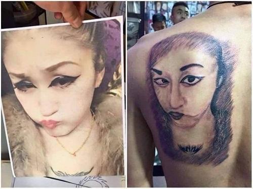 Xăm hình bạn gái lên lưng, tưởng tượng khác xa thực tế.