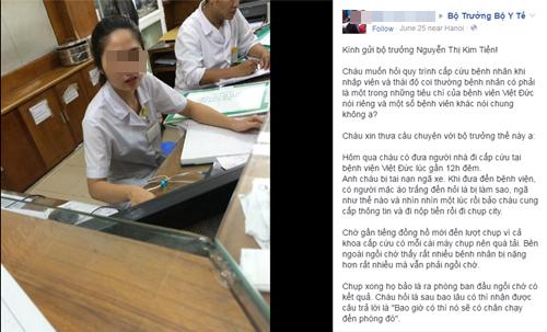 Người dân phản ánh bức xúc về thái độ làm việc ở bệnh viện Việt Đức trên Facebook - thai do bac si