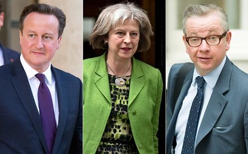 Thủ tướng Anh David Cameron, Bộ trưởng Nội vụ Theresa May và Bộ trưởng Tư pháp Michael Gove. Ảnh: Telegraph