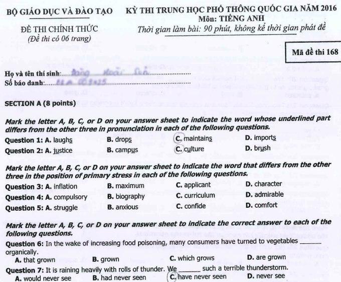 Đề và đáp án môn tiếng Anh kỳ thi THPT quốc gia