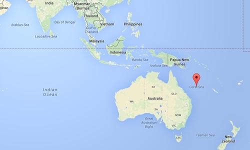 Vị trí Biển San hô, Australia. Đồ họa: Google Maps.