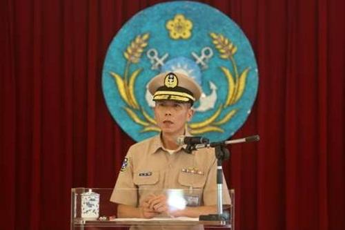 Hải quân Đài Loan hôm nay họp báo về lỡ phóng tên lửa. Ảnh: CNA
