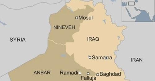 Vị trí thành phố Mosul, Iraq. Đồ họa: BBC.