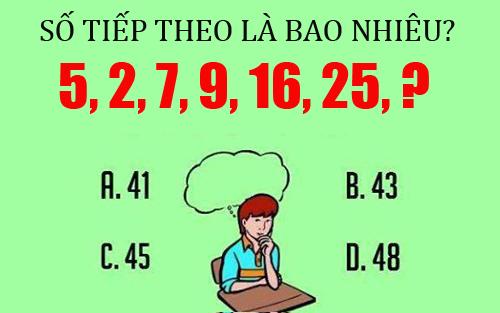 Số tiếp theo của dãy số trên là bao nhiêu?