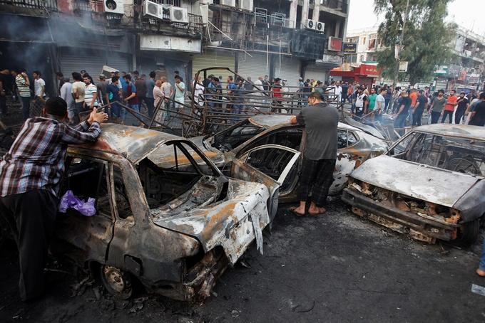 Hiện trường vụ đánh bom đẫm máu ở trung tâm Baghdad