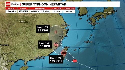 Đường đi dự kiến của bão Nepartak. Đồ họa: CNN.