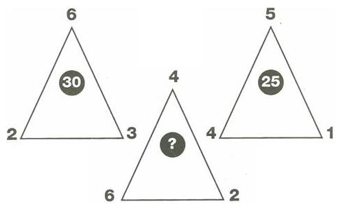Tìm quy luật và điền số chính xác vào dấu ? trong hình tam giác.