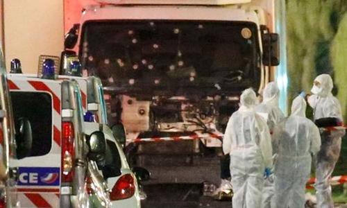 Chiếc xe tải chỉ dừng lại sau khi bị cảnh sát nổ súng liên tiếp hạ gục tài xế. Ảnh: Reuters.