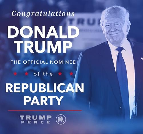 Bức ảnh đảng Cộng hòa đăng trên tài khoản Twitter để chúc mừng Donald Trump. Ảnh: Twitter/GOP.
