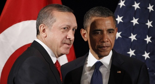 Tổng thống Thổ Nhĩ Kỳ Erdogan và người đồng cấp Mỹ Obama trong cuộc gặp năm 2011. Ảnh: AP