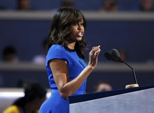 Đệ nhất Phu nhân Mỹ Michelle Obama phát biểu tại đại hội toàn quốc đảng Dân chủ ngày 25/7. Ảnh: Reuters.
