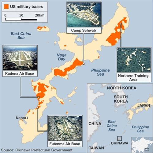 Vị trí các căn cứ quân sự Mỹ trên đảo Okinawa, Nhật Bản. Đồ họa:BBC.