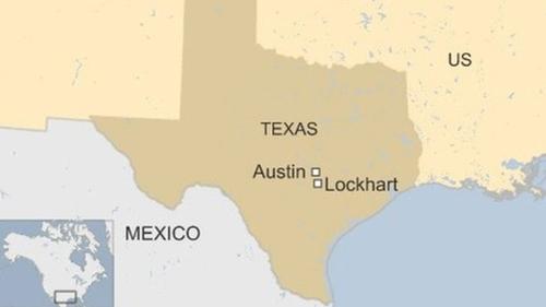 VỊ trí thành phố Lockhart, bang Texas, Mỹ. Đồ họa: BBC.