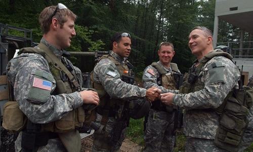 Binh sĩ Mỹ trong căn cứ Panzer Kaserne có từ thời chiến tranh Lạnh, nơi đồn trú của lính tinh nhuệ. Ảnh: RT.