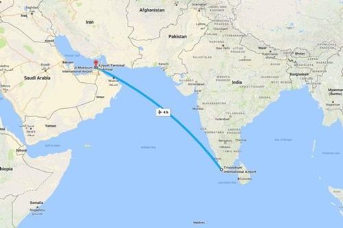 Hành trình theo kế hoạch của chuyến EK521 từ Sân bay Quốc tế Thiruvananthapuram, Ấn Độ tới Sân bay Quốc tế Dubai.
