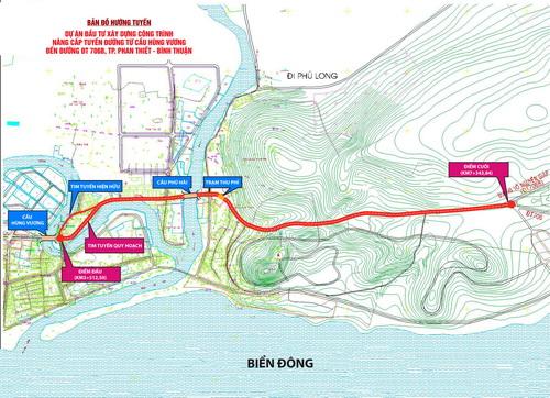Phối cảnh dự án nâng cấp mở rộng đường nối trung tâm Phan Thiết ra Mũi Né và sân bay.