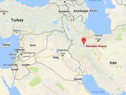 Vị trí căn cứ Hamedan, Iran. Đồ họa: Google Maps.\