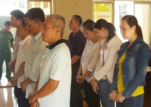 Tám cán bộ nguyên là lãnh đạo, cán bộ VAB Chi nhánh Bạc Liêu hầu tòa. Ảnh: Phúc Hưng