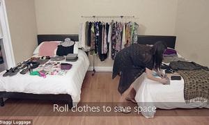 Cô gái gây sốt với video xếp hơn 100 món đồ vào vali