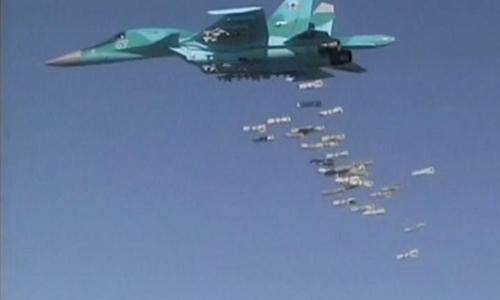 Máy bay ném bom Su-34 Nga tiêu diệt phiến quân IS ở Syria. Ảnh: Reuters.
